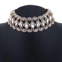 moda kızlar kısa elbise toptan satış-Tam elmas chokers kadınlar kristal kısa kolye kız moda takı akşam elbise aksesuarları üç renk gümüş altın siyah
