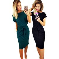 klasik yeşil diz boyu elbise toptan satış-Kadın bahar vintage diz boyu elbiseler o-boyun kısa kollu yeşil siyah dress lady casual zarif parti kalem dress vestidos