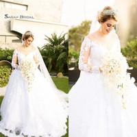 Wholesale line dress veil online - 2019 Long Scoop Wedding Dresses Plus Size With Veil Long Sleeves Bridal Gowns Inbal Dror Wedding Dresses