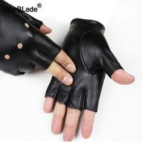 детские пальцевые рукавицы оптовых-WarBLade High Qualtiy Kids Leather Gloves Boy Girls Fingerless Gloves Chilidren Half Finger Mittens Breathable enfants