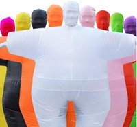 Wholesale inflatable dolls free for sale - Group buy Hot more colors Halloween Masked Fat Sumo Inflatable Clothing Walking Doll White Salmon Mascot Costumes Funny men Muscle free size sumo