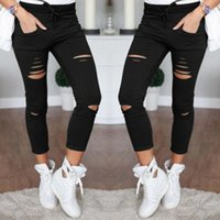 schwarze lochgamaschen großhandel-Neue Röhrenjeans Damen Shredded Pants High Waist Pants Damen Hosen Damen Leggings Hole Sweatpants Black Ripped Jeans