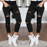 Wholesale hole leggings hollow resale online - New Skinny Jeans Women Shredded Pants High Waist Pants Women Trousers Women Leggings Hole Sweatpants Black Ripped Jeans