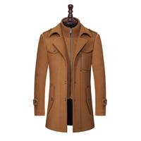 abrigos de lana slim fit hombres al por mayor-Nueva capa de las lanas de invierno Slim Fit chaquetas de abrigo Moda Hombre chaqueta caliente capa ocasional abrigo guisante más el tamaño M-XXXL