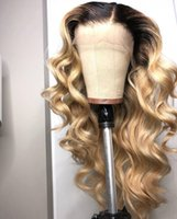 Wholesale short blonde ombre lace front wig resale online - Silk Top Full Lace Human Hair Wig Wavy Blonde Color Ombre Brazilian Virgin Hair Density Pre Plucked Lace Front Wig