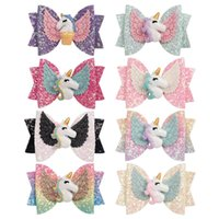 Wholesale teen hair accessories resale online - 8 color inch Hair bows Unicorn Clips Sequense With Angel Wing hair Bows Charm Hairbands Girls Teens Hair Accessories hairbands