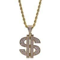 Wholesale dollar chain gold plated for sale - Group buy Mens k Real Gold Plated US Dollar Symbol Iced Out Cubic Zircona Personalized Pendant Chain Necklace Hip Hop Rock Jewelry Birthday Gifts