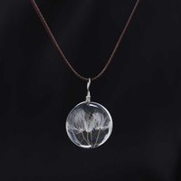 Wholesale stone woman s necklace resale online - DIY Women Jewelry Handmade Real Flower Dandelion Pendant Necklace Time Ball Glass Stone Clavicle Chain Necklace Women s Gift
