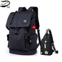 Wholesale suede backpack men resale online - FengDong big size black waterproof backpack men school bag set high school backpack for boy one shoulder sling chest bag T200114