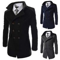 ingrosso cappotti di piselli di moda per gli uomini-Cappotto lungo in lana da uomo Autunno Inverno Moda Collo alla rovescia Cappotto in misto lana misto petto doppiopetto Cappotto da uomo Cappotti di marca