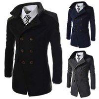 manteaux à pois pour hommes achat en gros de-Long manteau de laine hommes automne hiver mode col rabattu mélange de laine à double boutonnage manteau caban veste marque hommes manteaux