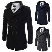 avlu malları toptan satış-Uzun Yün Ceket Erkekler Sonbahar Kış Moda Turn-Aşağı Yaka Yün Blend Kruvaze Bezelye Ceket Ceket Erkekler Marka Paltolar