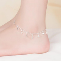 Wholesale star anklets resale online - KOFSAC New Fashion Sterling Silver Chain Anklets For Women Party Charm Star Ankle Bracelets Foot Jewelry Cute Girl Gift Hot