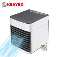hareketli ışıklar toptan satış-KBAYBO USB Klima Fanı Mini Hava Soğutucu Soğutma Mobil taşınabilir klima 7 Renkler ile Ev için LED ışık