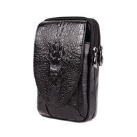 ingrosso modelli di design della cintura di cuoio-progettare modello di borsa della vita della cinghia 6 di telefonia mobile scatole vero coccodrillo degli uomini uomo pollici tasca di sigarette