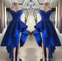ingrosso gonna blu 12-Royal Blue High Low Abiti da sera 2019 Sweetheart In rilievo Del Merletto Applique Ruffles Gonna Estate Homecoming Occasioni Abiti da ballo