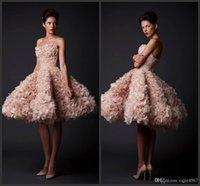 Wholesale champange prom dresses for sale - Group buy 2020 New Sexy Champange Ball Gown Knee Length Ruffle Organza Short Prom Dresses Party Gown Celebrity Homecoming Dresses vestidos de novia