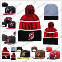 nueva jerseys marrones cosidos al por mayor-New Jersey Devils Hockey sobre hielo Gorros de punto Bordado Sombrero ajustable Gorros Snapback bordados Negro Rojo Marrón Sombreros cosidos Un tamaño