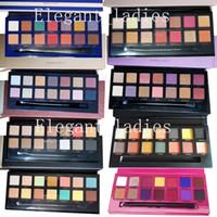 gelbe lidschatten großhandel-Auf Lager Make-up Pink Schwarz Grün Gelb Lila Matt Lidschatten-Palette 8 Styles Lidschatten-Palette Epacket