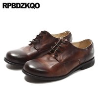 настоящая итальянская кожаная обувь оптовых-Men Dress Italian Leather Shoes Formal Designer High Quality 2018 Oxfords Italy Retro Genuine Runway Real European