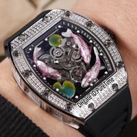 часы лотос оптовых-Лучшее издание 57-01 сталь серебро Алмаз безель скелет 3D 3 рыбы играть воды Lotus цвет листьев циферблат автоматические мужские часы черный резина E02