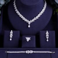 colar de colar de ouro indiano venda por atacado-Nigéria jankelly 4 pcs Nupcial Zirconia Conjuntos de Jóias Para As Mulheres Do Partido, luxo Dubai Nigéria CZ Conjuntos de Jóias de Casamento de Cristal