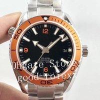 gezegen okyanus otomatik mekanik saatler toptan satış-42mm Erkek Otomatik Cal.8500 Saatler Erkekler Portakal Bezel VS Fabrikası Mekanik İzle Aksiyel Okyanus Safir Dive 600m Eta Gezegen saatı