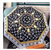 regen regenschirm stoff großhandel-Luxus Kamelie Blume Regenschirm Frauen 3-fach UV-Schutz Sonnen- und Regenschirm 8 Farben