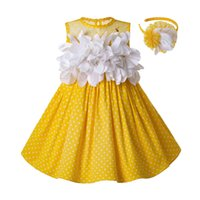 ingrosso i vestiti gialli della ragazza del fiore del cotone-Pre-vendita 2019 Le più nuove ragazze Easter Dress Summer White Flower Dot senza maniche in cotone giallo Kids Dress con copricapo G-dmgd201-c137 Y19061501