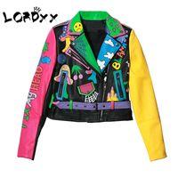 ingrosso giacca gialla a manica corta-Lordxx Colorful Rainbow Jacket Women 2019 New Fashion Print Giallo manica strada breve giacca in pelle con cerniera cappotto moto T3190614