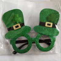 óculos fantasia vestido venda por atacado-St Patrick Óculos Engraçados Trevo Verde Óculos Óculos Trajes de Fantasia Vestido para Decoração Do Partido Irlandês