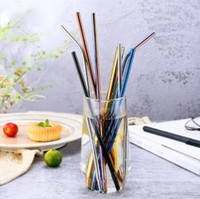 Wholesale kitchen camping resale online - Stainless Steel Straws mm mm Bent Straight Colorful Rainbow Reusable Drinking Metal Straws Camping Kitchen Straw OOA6183