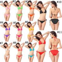 sexy strings kleidung großhandel-Badebekleidung für Frauen Badeanzug Sexy Bikini für Frauen Strandkleidung feste String Bikini zweiteilig 11 Farben ZZA241