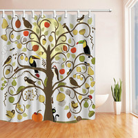 Wholesale insect hooks for sale - Group buy Beautiful tree with bird fruit insect shower curtain bathroom Durable Fabric Mildew Bathroom Accessories Creative with Hooks X180CM