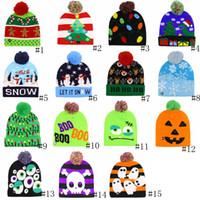 ingrosso berretti luci-Halloween LED di Natale Stoffe Cappelli Bambini inverno del bambino caldo Berretti Crochet Caps Luce zucca Pupazzi Festival del partito Moda Hat GGA2746