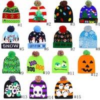 luces de gorritas tejidas al por mayor-Llevó de Halloween de punto sombreros de la Navidad de los niños del bebé caliente del invierno de las gorritas tejidas del ganchillo de los casquillos de los muñecos de nieve del partido del festival calabaza Luz moda del sombrero GGA2746