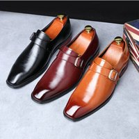 Wholesale mens handmade leather dress shoes resale online - New Men s Dress Shoes Handmade Office Business Wedding Mens Leather monk Shoes Black Brown Luxury Lace Up Formal Oxfords A51
