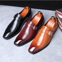 erkekler kahverengi dantel ayakkabıları toptan satış-Yeni erkek Elbise Ayakkabı El Yapımı Ofis Iş Düğün Erkek Deri keşiş Ayakkabı Siyah Kahverengi Lüks Lace Up Örgün Oxfords A51-66