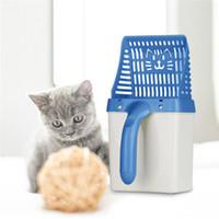 pás de areia de plástico venda por atacado-Cat Litter Pá Pet Cleanning Ferramenta de Plástico Colher Areia Do Gato Produtos de Limpeza Higiênico Para Colheres de Comida de Cão colher de areia