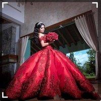 vestidos de vestidos de noiva vermelha venda por atacado-Barato vestido de Baile Vermelho Vestidos De Casamento Para Meninas de Cetim Fora Do Ombro Apliques de Longo Doce 16 Vestido De Noiva Vestidos Formais
