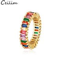 joyas llenas de oro del arco iris al por mayor-Anillo de compromiso cuadrado de arco iris lleno de oro para mujeres Colorido Cubic Zirconia Cz Eternity Band Ring Fashion Wedding Party Jewelry