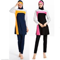 Wholesale islamic swimsuits resale online - Fashion Swimming Suit For Women Hijab Clothing Top Bottom Caps Piece Muslim Set Islamic Swimwear Swimsuit Dubai Abrab Bathing Burkini