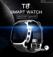 Wholesale t8 smartwatch resale online - For apple iPhone T8 Bluetooth Smart watch smartwatch Pedometer Support SIM TF Card With Camera Sync Call Message pk DZ09 U8 Q18 fitbit