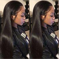 afroamerikanische natürliche lange haare großhandel-Verkaufe lange gerade natürlich aussehende Haare glueless Frontperücke volle Haarperücke für Afroamerikanerfrau 26 Zoll hitzebeständig