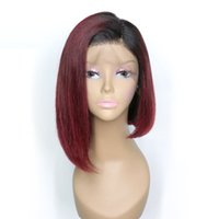 Wholesale wine red short hair resale online - Burgundy Lace Wig Bob Ombre Colored Dark Root Wine Red j Virgin Peruvian Short Ombre Human Hair Full Lace Front Wigs For Women