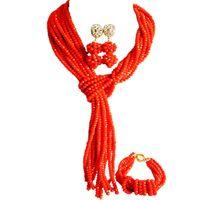 turuncu kristal kolye toptan satış-El yapımı Opak Turuncu Parti ve Günlük Kullanım Kadın Kristal Boncuk Kolye Setleri 10C-WJ-07
