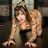 sexy schwarze super helden kostüm großhandel-Frauen-reizvolle Babydoll-Wäsche-Overall-Set Cosplay Leopard Bodystocking Nachtwäsche Zipper Langarm Exotische Tanzkleidung Bodysuit