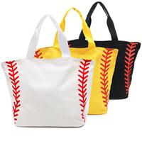 bolsas de equipo al por mayor-Bolso de béisbol Bolsas de lona Bolsas grandes de deporte Bolsas de deporte de las muchachas Bolsos de los bolsos de los bolsos blancos amarillos 4 diseños opcionales YW2433