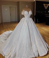 Wholesale short white wedding dresses bling resale online - New Islamic Muslim Wedding Dresses Lace Bling Short Sleeves Arabic Bridal Gowns Moroccan Kaftan Vestido de noiva