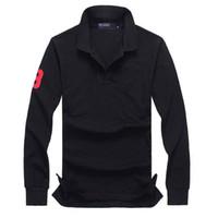 ralph tişörtleri toptan satış-Mens Tasarımcı T Shirt Polo Uzun Kollu Timsah Nakış Giyim Büyük Küçük At Erkek Yaka Lüks Gömlek Ralph Pamuk Marka Baskı Homme